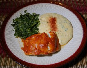 Baked cod with smoked mayo and smoked gouda grits