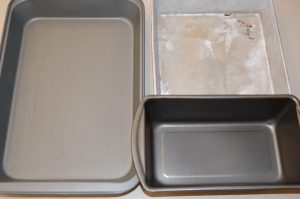 Standard baking pans. A loaf pan is 1/2 an 8 X 8 pan