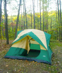 Candace's personal tent, ready for an air mattress and a quiet eventing in the woods