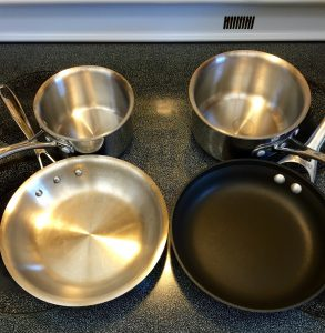 Small, right size pans for a serving or two plus smaller sauté pans. Perfect for a couple of eggs