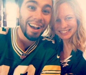 Chelsea and Clayton Simon...decked out in Packers gear.