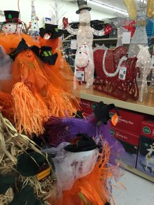 Christmas and Halloween collide at a local mega mart